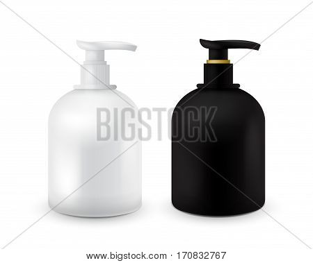 Set of Jar with liquid soap for your logo and design is easy to change colors. Realistic black and white cosmetic container for soap cream, lotion. Mock up bottle