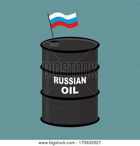 Russian Barrel Oil. Russia Petroleum. Business Illustration