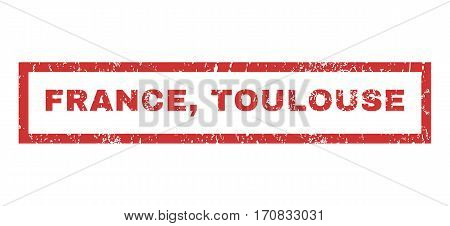France Toulouse text rubber seal stamp watermark. Tag inside rectangular shape with grunge design and scratched texture. Horizontal vector red ink emblem on a white background.