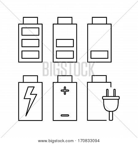 Battery. Set of icons indicating battery power for web and mobile application. Vector illustration on a white background. Line