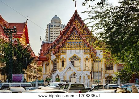 Bangkok, Thailand - December 22, 2015: Wat Chakrawatrachawat Woramahawihan is the famous Buddhist temple in Bangkok Thailand. It is located in Chinatown district Bangkok, Thailand
