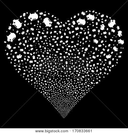 Piggy Bank fireworks with heart shape. Vector illustration style is flat white iconic symbols on a black background. Object love heart constructed from confetti design elements.