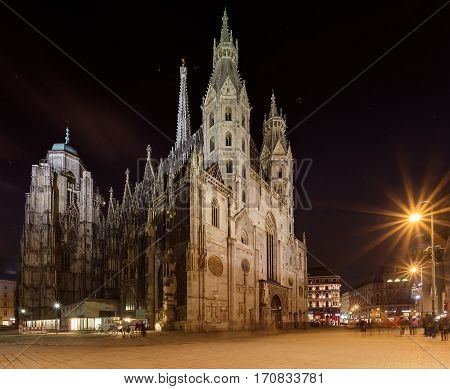 St. Stephens Cathedral in the evening. Vienna Austria
