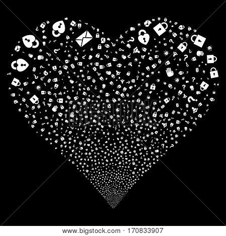 Secrecy Symbols fireworks with heart shape. Vector illustration style is flat white iconic symbols on a black background. Object heart constructed from confetti icons.