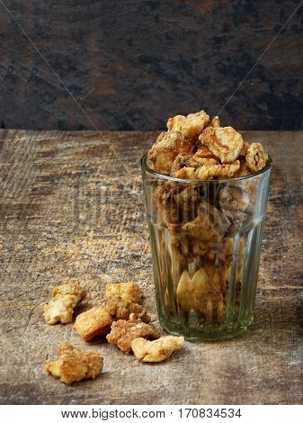 Homemade Pork Crackling, Scratchings, Various Fried Bacon