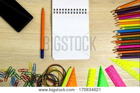 School Supplies (pencil, Pen, Ruler, Triangle) On Blackboard Background Ready For Your Design .schoo