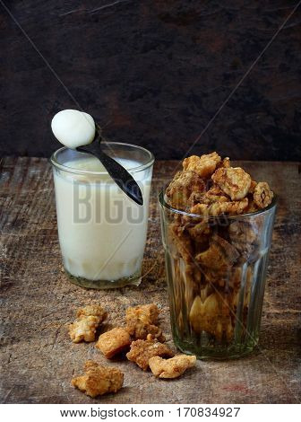 Homemade Pork Crackling, Scratchings, Various Fried Bacon And Lard In Glass