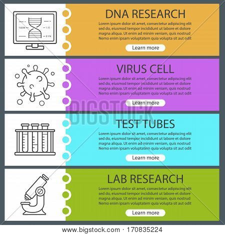 Bio laboratory banner templates set. Easy to edit. Virus cell, lab test tubes, microscope, dna research. Website menu items. Color web banner. Vector headers design concepts