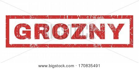 Grozny text rubber seal stamp watermark. Tag inside rectangular shape with grunge design and unclean texture. Horizontal vector red ink emblem on a white background.