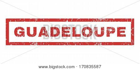 Guadeloupe text rubber seal stamp watermark. Tag inside rectangular banner with grunge design and dust texture. Horizontal vector red ink sign on a white background.