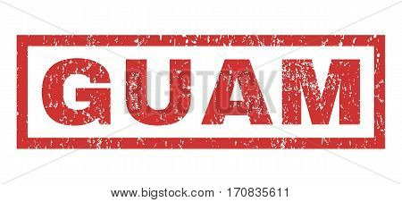 Guam text rubber seal stamp watermark. Tag inside rectangular shape with grunge design and dust texture. Horizontal vector red ink sticker on a white background.