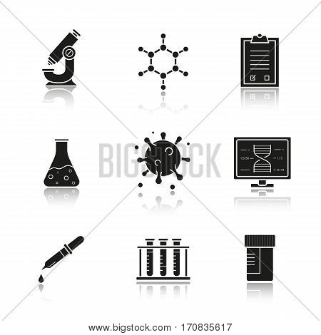 Science laboratory drop shadow black icons set. Microscope, molecular structure, tests checklist, beaker with liquid, virus, lab computer, pipette, test tubes and jar. Isolated vector illustrations
