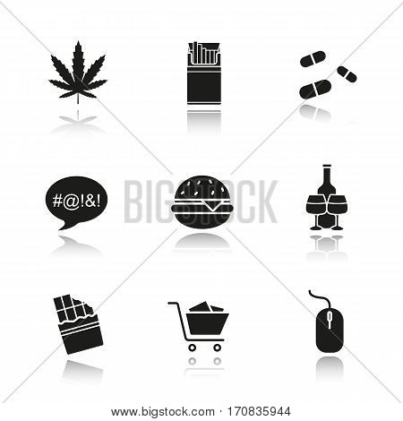 Addictions drop shadow black icons set. Smoking, drugs, food, swearing, shopping, computers, alcoholism. Marijuana, cigarettes, pills, burger, chocolate, computer mouse. Isolated vector illustrations