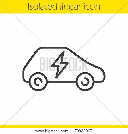 Electric car linear icon. Thin line illustration. Eco friendly vehicle contour symbol. Vector isolated outline drawing
