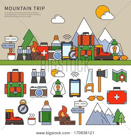 Thin line flat design of the set of tools for trip in mountains. Camping equipment against the mountains, hiking tools, backpack, compass, thermos and many others isolated on white background