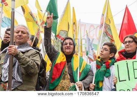 Kurdish Demonstrators Protesting In Milan, Italy
