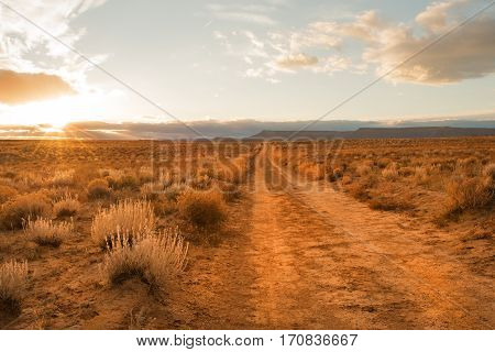 Unpaved road through Grand Staircase Escalante National monument in Utah
