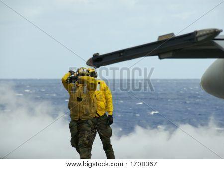 Sailors On Flight Deck