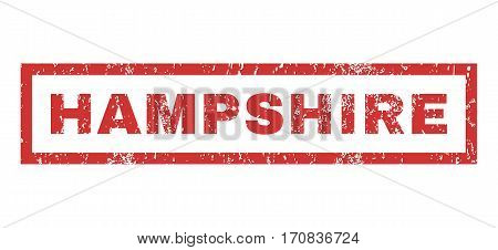 Hampshire text rubber seal stamp watermark. Caption inside rectangular shape with grunge design and dirty texture. Horizontal vector red ink sticker on a white background.