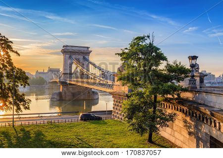 Budapest Chain Bridge And City Skyline When Sunrise, Budapest, Hungary