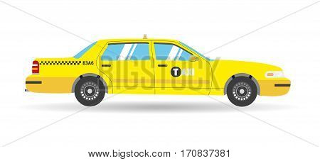 Cartoon yellow flat taxi icon. Isolated objects business cab car