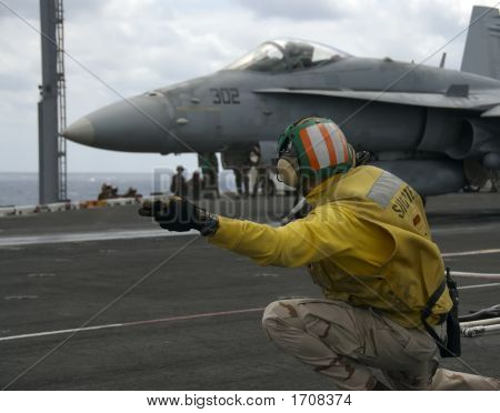 Naval Officer On Flight Deck