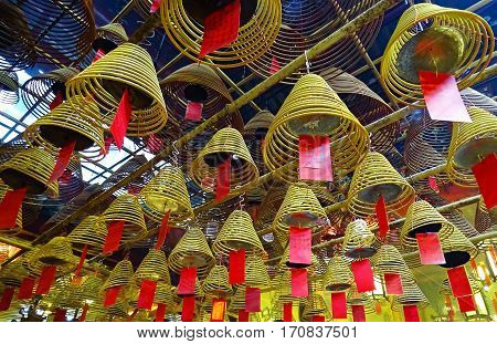 Incense sticks burn in the Man Mo Temple in Sheung Wan (Hong Kong) during the Chinese New Year