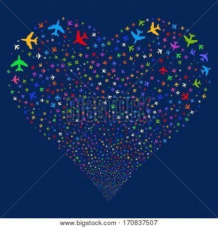 Jet Plane fireworks with heart shape. Vector illustration style is flat bright multicolored iconic symbols on a blue background. Object heart combined from scattered pictograms.