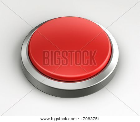 3d rendering of a red button with no text written on it.