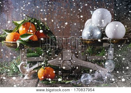 Tangerines And Christmas Decorations