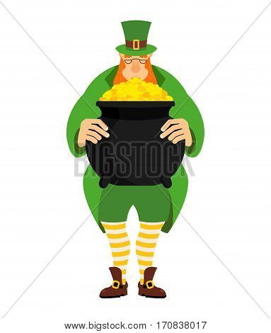 Leprechaun And Pot Of Gold. Dwarf In Green Clothes And Boiler Of Golden Coins. St.patrick S Day. Nat