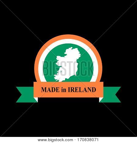 Mde In Ireland Emblem. Irish Flag Sign. National Tape. Logo For Production. Symbol For Manufacture