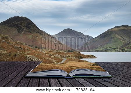 Beautiful Sunset Landscape Image Of Wast Water And Mountains In Lkae District In Autumn In England C