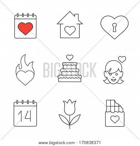 Valentine's Day linear icons set. February 14 calendar, house, heart with keyhole, passion, wedding cake, enamoured girl, tupil, chocolate bar. Thin line contour symbols. Isolated vector illustrations