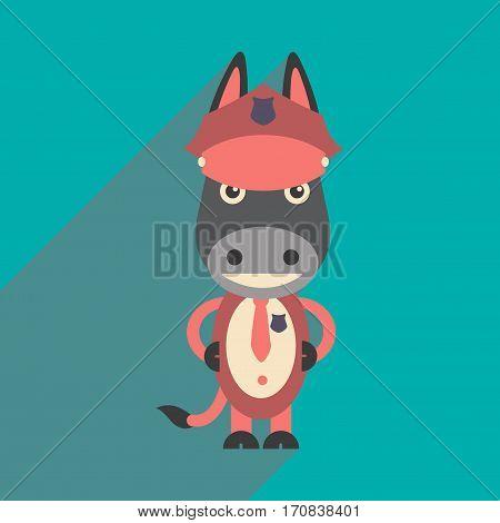 flat icon with long shadow cartoon donkey