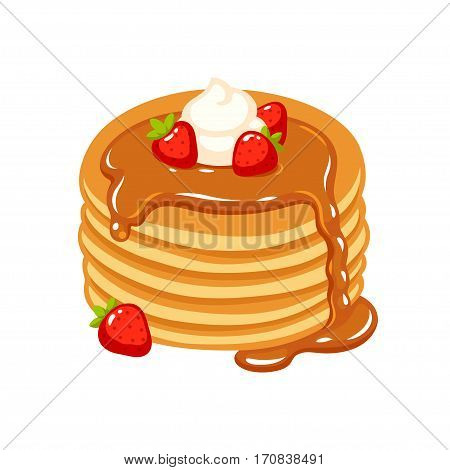 Traditional pancakes with strawberries maple syrup and whipped cream. Hand drawn breakfast and dessert vector illustration.
