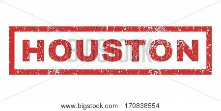 Houston text rubber seal stamp watermark. Tag inside rectangular shape with grunge design and dirty texture. Horizontal vector red ink emblem on a white background.