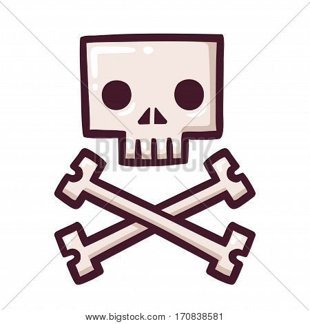 Stylized square cartoon skull with crossbones drawing. Halloween or pirate flag vector illustration.