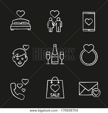 Valentine's Day chalk icons set. Bed, family, smartphone dating app, boy, champagne, wedding ring with heart, romantic talk, shopping bag, love letter. Isolated vector chalkboard illustrations