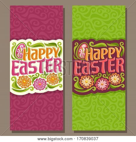 Vector vertical Banners for happy Easter holiday: greeting decorated card on green spring curly textured background, banner for easter with egg, flower on red abstract curl art pattern with title text