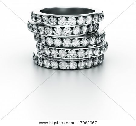 3d rendering of 5 diamond rings
