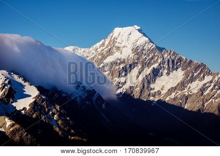 Scenic View Of Mount Cook Summit With Dramatic Clouds, Nz