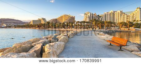 Walking pier at the central public beach of Eilat - famous resort city in Israel