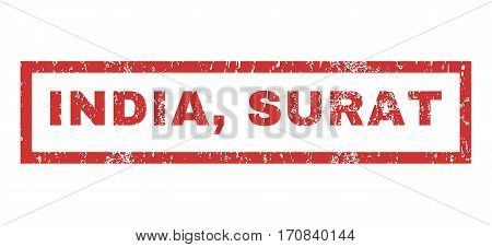 India Surat text rubber seal stamp watermark. Tag inside rectangular shape with grunge design and unclean texture. Horizontal vector red ink emblem on a white background.