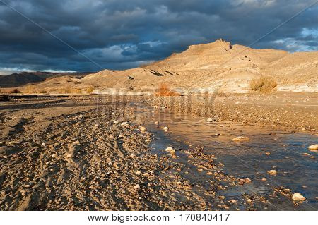 Dramatic sky over Wahweap wash in Grand Staircase Escalante national monument