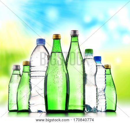 Different sorts of bottles containing mineral water