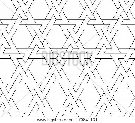 Islamic line triangle pattern. Seamless vector geometric linear background in arabian style