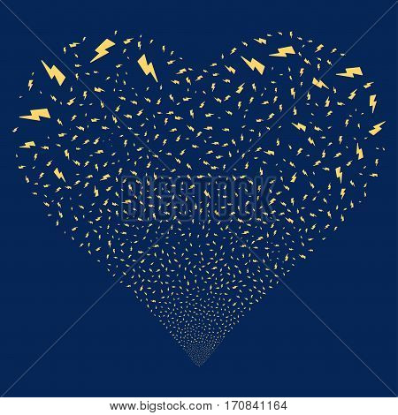 Electric Strike fireworks with heart shape. Vector illustration style is flat yellow iconic symbols on a blue background. Object salute combined from confetti pictographs.