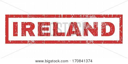 Ireland text rubber seal stamp watermark. Caption inside rectangular banner with grunge design and dust texture. Horizontal vector red ink sign on a white background.