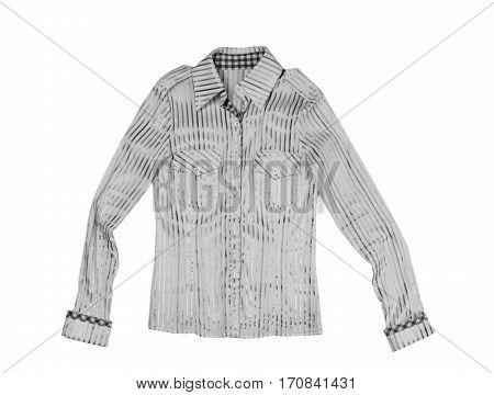Ladies fashion striped shirt isolate on white